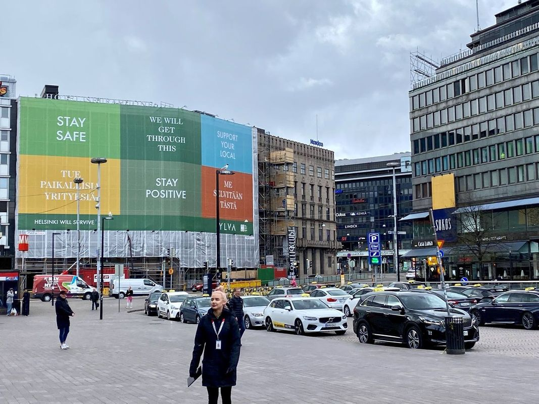 The railway square in central Helsinki has slowly returned to life. A lonely activist seeks to gather signatures, while a line of taxes waits for customers on Tuesday, May 12th.